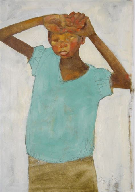 Painting of a tired black girl hiding her face in her hands by Olivia Pendergast.