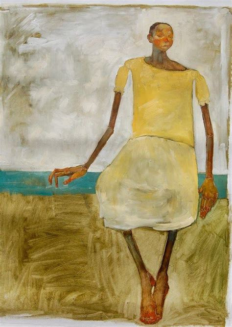 Painting of a black girl in a yellow dress sitting on a bench by Olivia Pendergast.