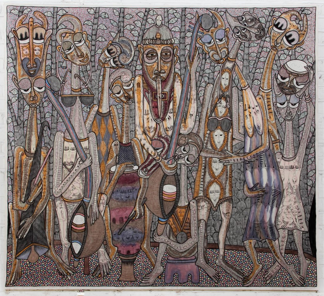 Painting in the primitivism style by Nigerian painter, Twins Seven Seven. It depics his deceased brothers and sisters in the spirit world, a prevalent concept in West African religion.