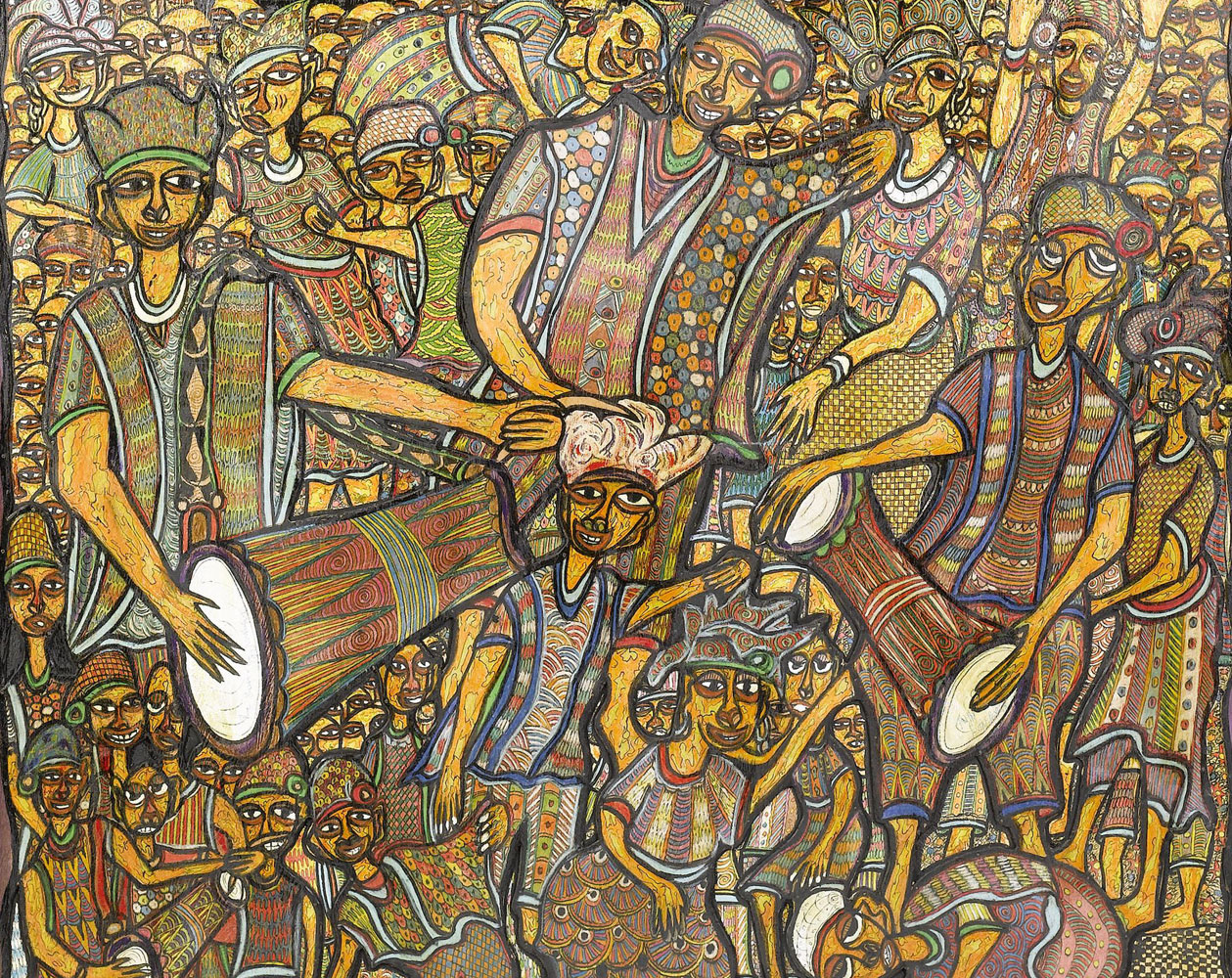 Bottom half of a painting in the primitivism style by Nigerian painter, Twins Seven Seven. It depicts Shango, a Yoruba orisha, and lesser divinity in West African Religion, surrounded by worshippers during his dedicated festival.