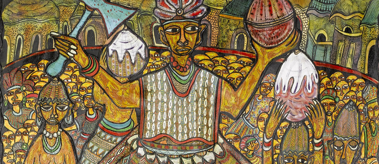 Top half of a painting in the primitivism style by Nigerian painter, Twins Seven Seven. It depics Shango, a Yoruba orisha, and lesser divinity in West African Religion, surrounded by worshippers during his dedicated festival.