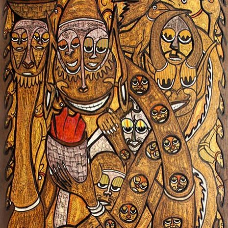 Painting in the primitivism style by Nigerian painter, Twins Seven Seven. It depicts spirits of the ocean, thought to have long necks. Elemental spirits are an inextricable part of West African religion.
