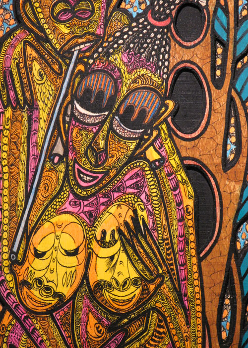 Painting in the primitivism style by Nigerian painter, Twins Seven Seven. It depicts a goddess of love, a common minor deity in West African religion.