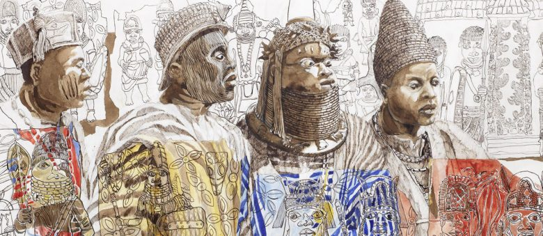 Painting of four Yorouba kings wearing colorful clothing and elaborate crowns, sworn to protect the sacred city of Ile-Ife, by Julian Sinzogan.