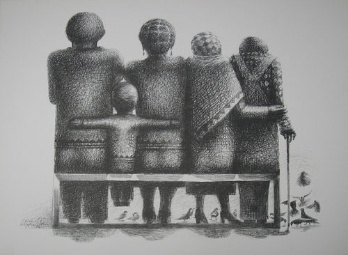 Black and white sketch of a family of five, backs turned, sitting on a bench. The grandparents are on the right, and the parents on the left. Between the parents, a small child. At their feet are a group of chickens. African parents may give their children names that reflect the family's socio-economic status.