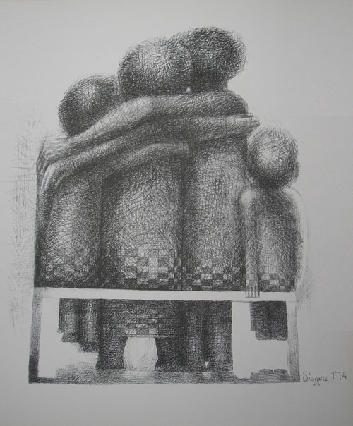 Black and white sketch of a family of four, backs turned, sitting on a bench and hugging. A good name can act as deterrent to death, so that a child might live.