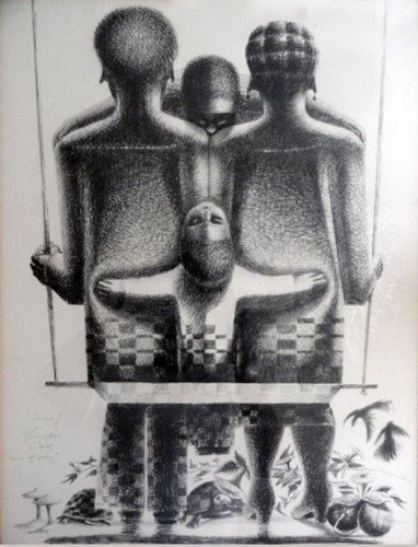 Black and white lithograph of a family with a man and a woman sitting, backs turned, on a swing. Between them are two twin children. African twins often have predetermined names and affect the naming pattern of their younger siblings.