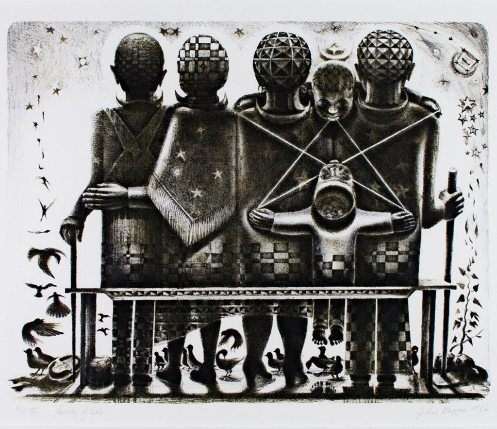 Black and white lithograph of a family sitting, back turned, on a bench. On the left sit the grandparents, on the right the parents and two children between them, playing with string. At their feet are a plant and some chickens. African parents may name their children after deities that watch over the family.