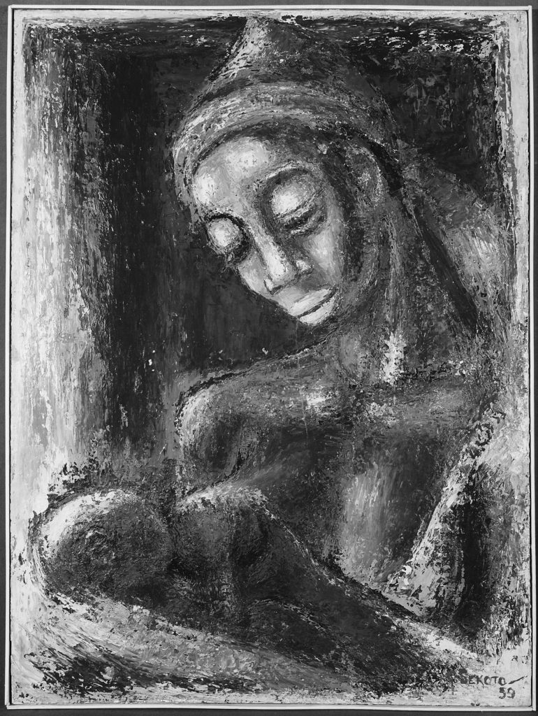 Black and white portrait painting of a mother breastfeeding her baby. A baby is not given a name or several names until seven to ten days after its birth.