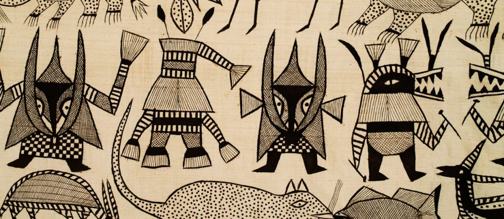 Korhogo cloth of the Senufo people, depicting characters from tales of the Ivory Coast.