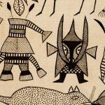 Textile du peuple sénoufo de Korhogo qui illustre les personnages des contres de la Côte d'Ivoire.