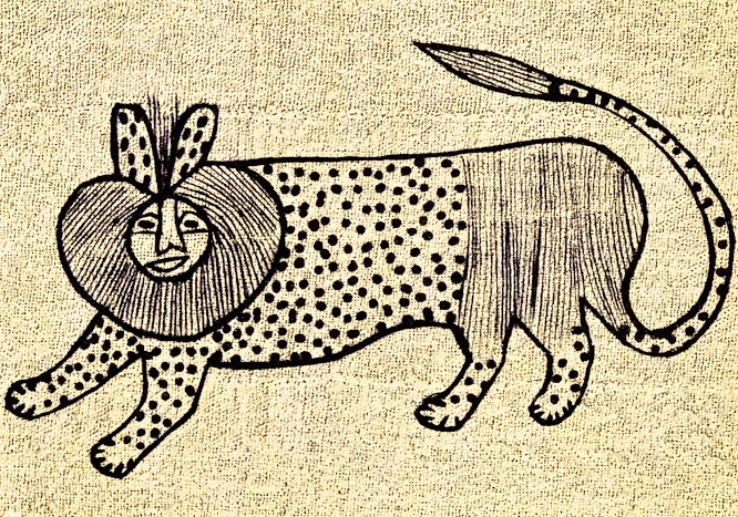 Korhogo cloth of the Senufo people depicting a lion, an animal which is commonly found in the tales of the Ivory Coast.