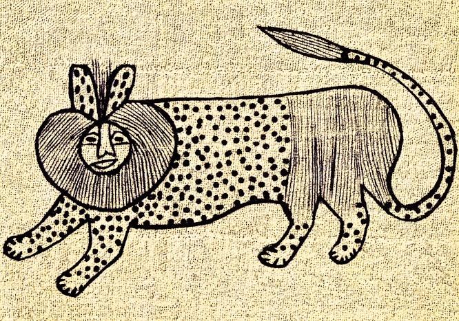 Textile de Korhogo du peuple sénoufo qui illustre un lion, un animal souvent présent dans les contes de la Côte d'Ivoire.