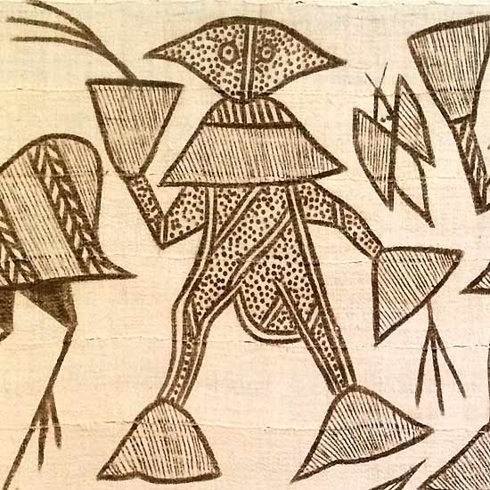 Korhogo cloth of the Senufo people depicting a man. People are commonly the protagonists in the tales of the Ivory Coast.