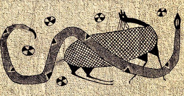 Textile de Korhogo du peuple sénoufo qui illustre une antilope et un serpent, des animaux souvent présents dans les contes de la Côte d'Ivoire.