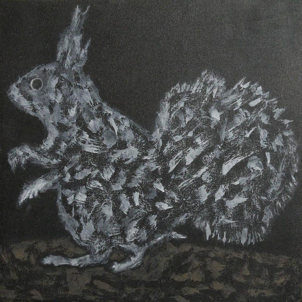 Peinture abstraite d'un écureuil en train de manger des cacahuètes.