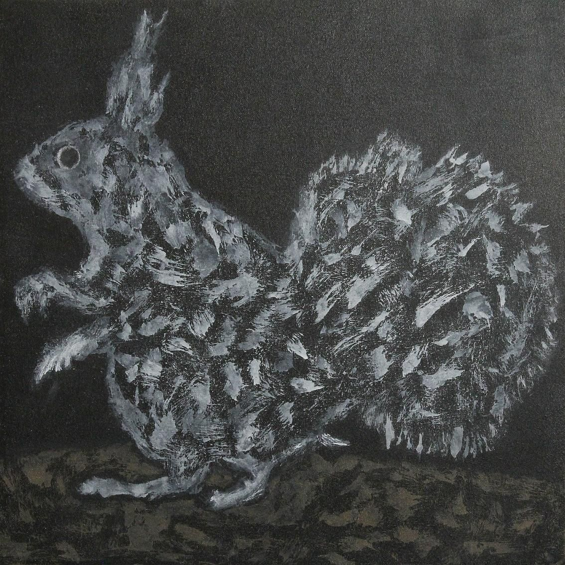 Abstract painting of a squirrel eating peanuts.