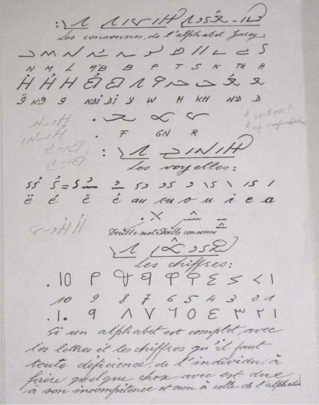 Tableau d'Assane Faye de l'alphabet Garay, indiquant les consonnes, les voyelles et les chiffres.