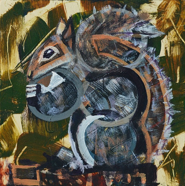 Abstract geometric painting of a squirrel eating peanuts.