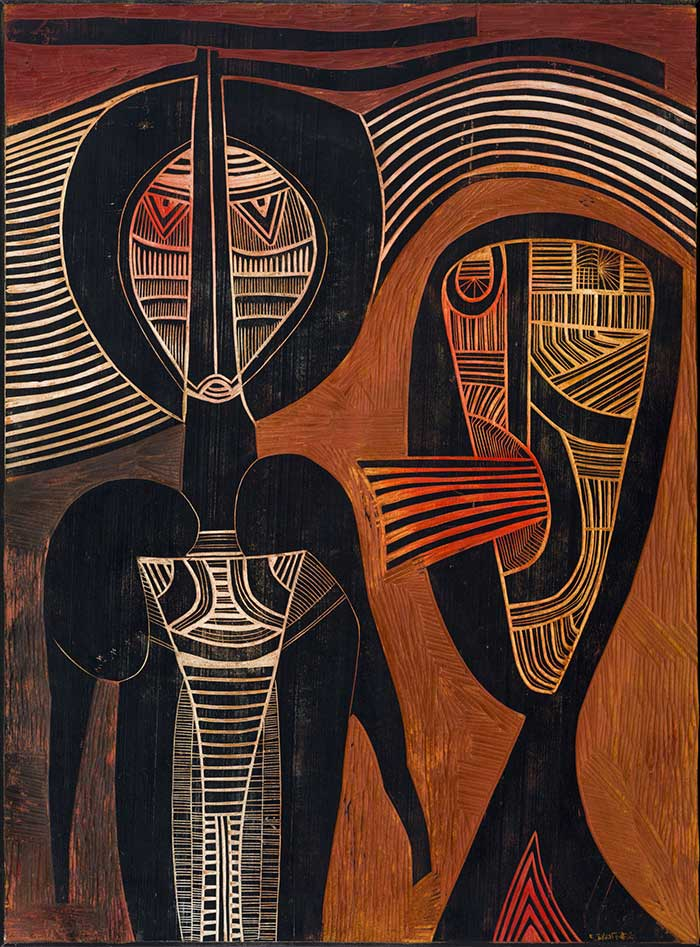 Abstract geometric painting by Cecil Skotnes of two people, one listening in silence, the other speaking.