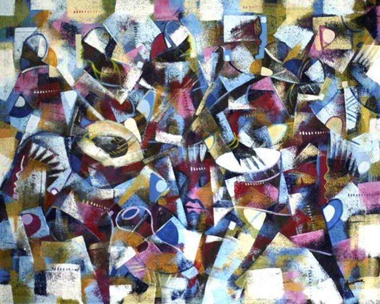 Peinture abstraite cubiste de percussionistes et de danseurs se mouvant a un rythme, par l'artiste Ghanéen Henry Appiah