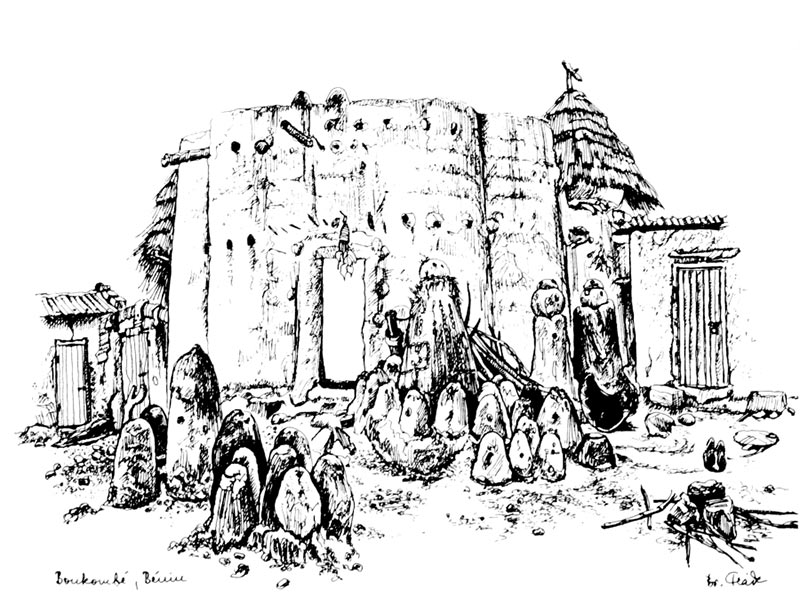 Black and white sketch of a Tata Somba in Boukoumbé in Benin, in front of which many lisenpo mounds are erected.