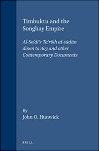 Cover of the West African history book 'Timbuktu and the Songhay Empire' which includes a translation of the Tarikh al-Sudan among other contemporary texts, by John Hunwick.