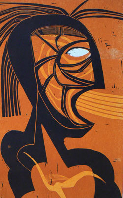 Abstract painting of a figure with lines coming out of its mouth, symbolizing speech or language.