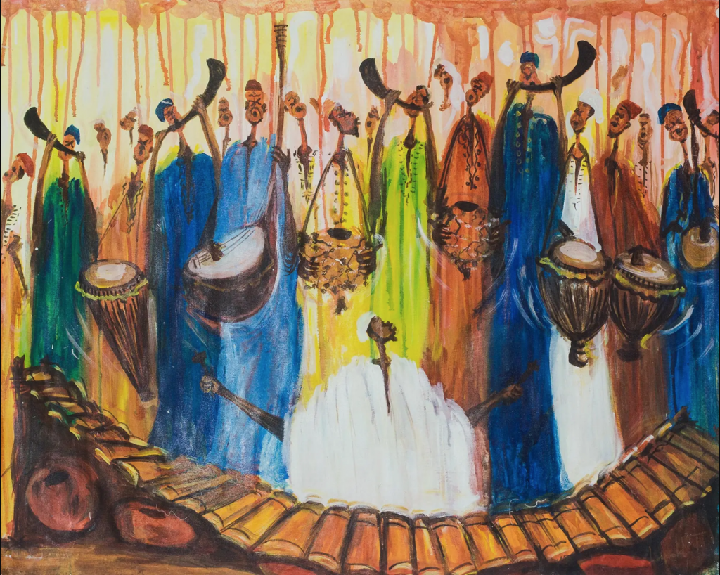 Painting of griots playing West African Instruments: horns, balafon, djembés, koras, etc.