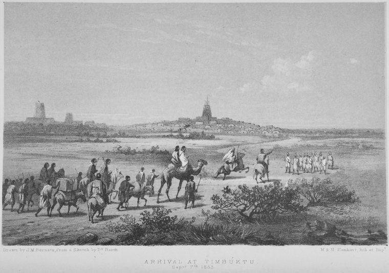 Gravure illustrant une caravane menée par des chameliers arrivant à Tombouctou, une ville que Mansa Moussa transforma en un grand centre intellectuel de l'empire du Mali.