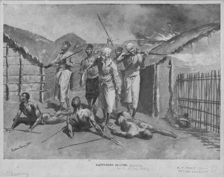 Illustration d'hommes ouest-africains capturant des esclaves d'un village ouest-africain.