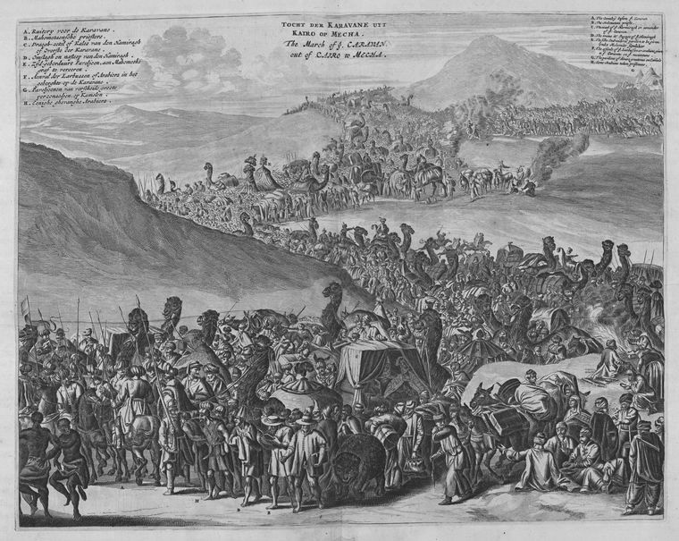Engraved illustration of a caravan on Pilgrimage from Cairo in Egypt to Mecca, with a long string of camels and people journeying across the desert.