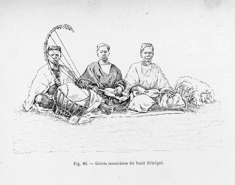 Illustration de trois griots, musiciens et historiens traditionnels de l'empire du Mali.