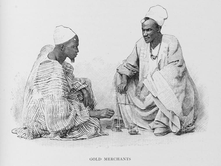 Engraved illustration of two West African gold merchants carefully weighing their goods with a scale.