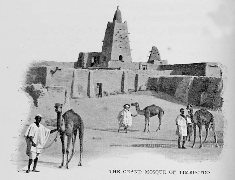 1897 illustration of the grand mosque of Timbuktu, the Djinguereber Mosque built by Mansa Musa of the Mali Empire.